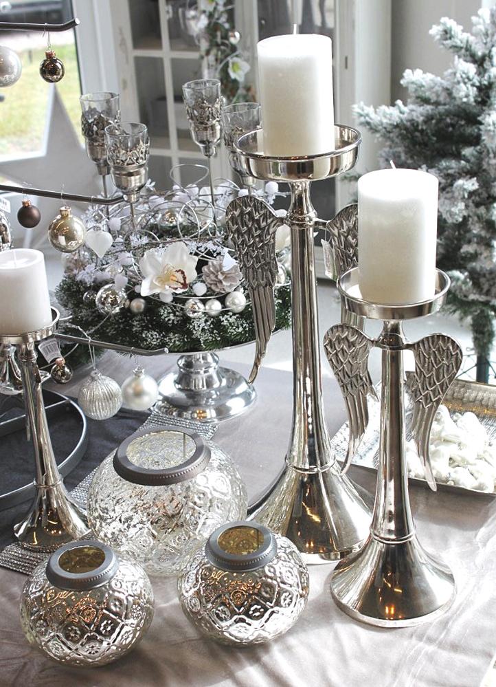 dekoartikel aus der weihnachtsaustellung 2012 kerzenst nder mit engelsfl geln willenborg. Black Bedroom Furniture Sets. Home Design Ideas