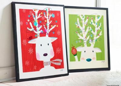 Dekoartikel aus der Weihnachtsaustellung 2014 - Rentier Wandbilder