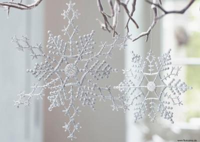 Dekoartikel aus der Weihnachtsaustellung 2014 - Schneeflocke mit Glitzer