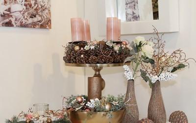 Dekoartikel aus der Kupfer-Kollektion der Weihnachts-Ausstellung 2015 - Adventskranz - Vase