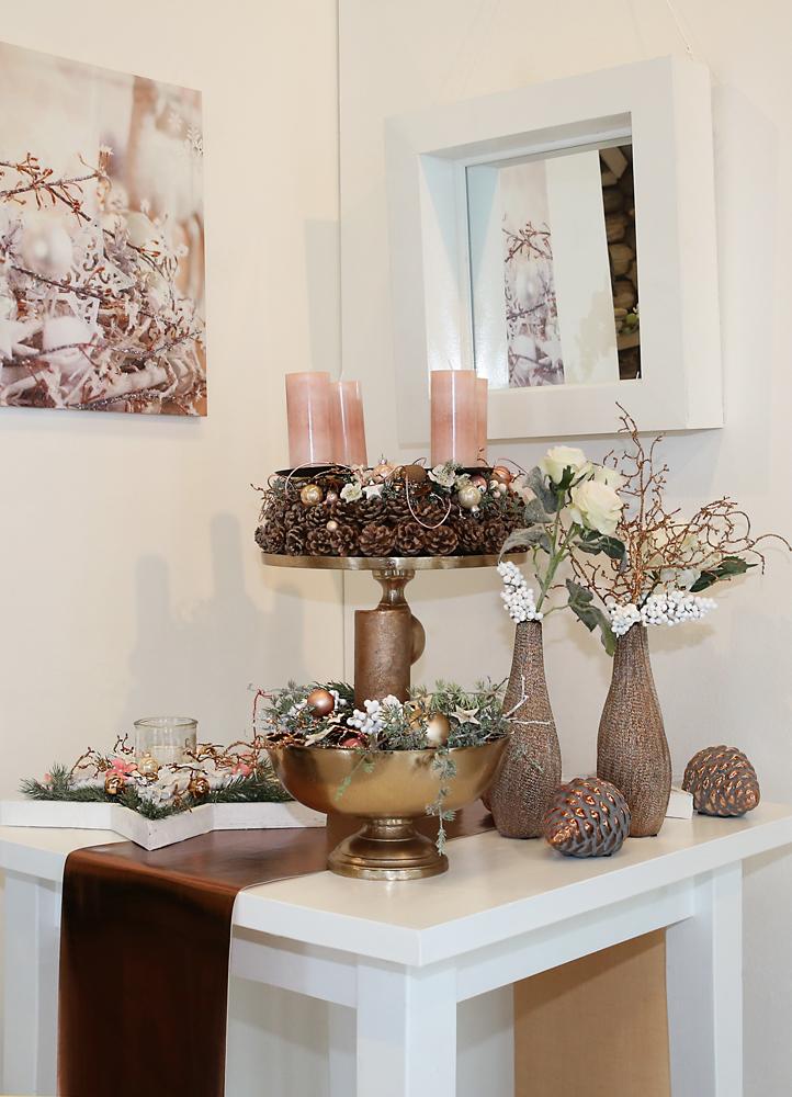 dekoartikel aus der kupfer kollektion der weihnachts ausstellung 2015 adventskranz vase. Black Bedroom Furniture Sets. Home Design Ideas