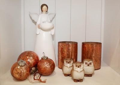 Dekoartikel aus der Kupfer-Kollektion der Weihnachts-Ausstellung 2015 - Teelichtglas - Engel - Christbaumkugel- Eule