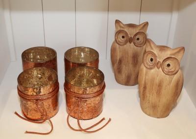 Dekoartikel aus der Kupfer-Kollektion der Weihnachts-Ausstellung 2015 - Teelichtglas - Eule