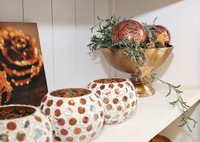 Dekoartikel aus der Kupfer-Kollektion der Weihnachts-Ausstellung 2015 - Teelichtglas - Christbaumkugel