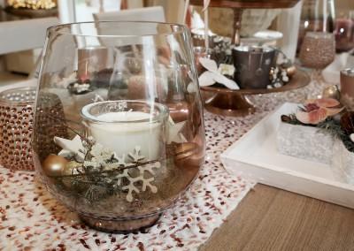 Dekoartikel aus der Kupfer-Kollektion der Weihnachts-Ausstellung 2015 - Teelichtglas - Windlichtglas - Kerze - Schneeflocke - Tischdeko