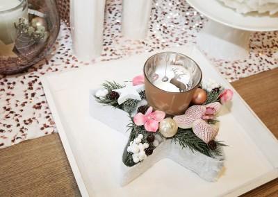 Dekoartikel aus der Kupfer-Kollektion der Weihnachts-Ausstellung 2015 - Teelichtglas - Kerze - Stern - Tischdeko