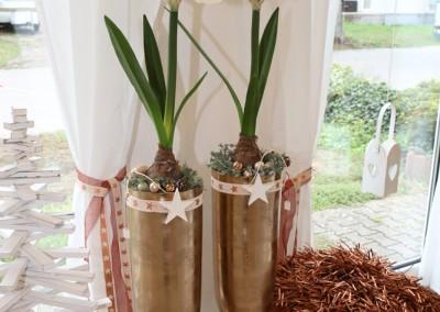Dekoartikel aus der Kupfer-Kollektion der Weihnachts-Ausstellung 2015 - Kissen - Teelichtglas - Vase