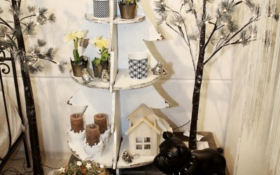 Dekoartikel aus der Mint-Kollektion der Weihnachts-Ausstellung 2015  - Teelichtglas - Kranz
