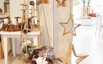 Dekoartikel aus der Natur-Kollektion der Weihnachts-Ausstellung 2015  - Elch - Stern - Holz
