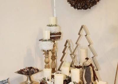 Dekoartikel aus der Natur-Kollektion der Weihnachts-Ausstellung 2015  - Adventskranz - Tannenbaum - Kerzenhalter - Holz