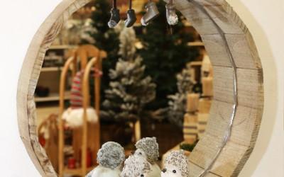 Dekoartikel aus der Natur-Kollektion der Weihnachts-Ausstellung 2015  - Holz - Figur - Vogel - Spiegel