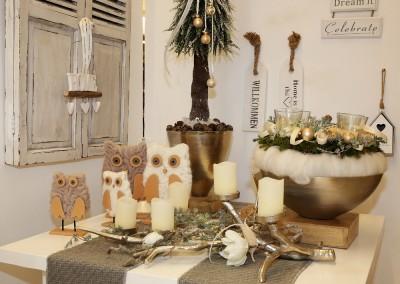 Dekoartikel aus der Natur-Kollektion der Weihnachts-Ausstellung 2015  - Hirsch - Geweih - Kerzenhalter - Eule