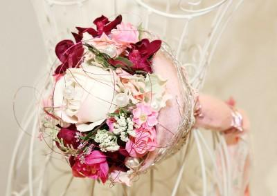 Dekoartikel der Frühlings-Ausstellung 2016 - Blumenstrauss - Hochzeitsdeko - Biedermeier - Rosa - Pink