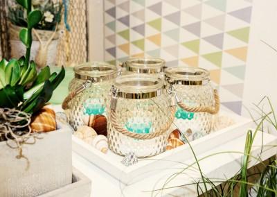 Dekoartikel der Frühlings-Ausstellung 2016 - Maritim - Kollektion - Teelichtglas - Jute