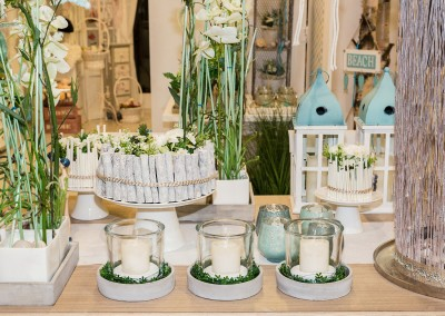 Dekoartikel der Frühlings-Ausstellung 2016 - Maritim - Kollektion - Teelichtglas - Fisch - Holz - Teelichtglas - Kerze