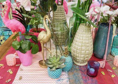 080-willenborg-deko-fruehling-ostern-tropical-sommer-tropisch-pink-rosa-pflanze-kunstblume-summer-gold-flamingo-ananas-vase