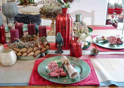 003-winter-weihnachten-deko-ausstellung-2019-willenborg-mannheim-tafelgedeck-tischgedeck-rot-gruen-zapfen-papagei
