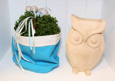 Dekoartikel aus der Home-Maritim-Kollektion der Frühjahr-Sommer Ausstellung 2015 - Holz-Eule