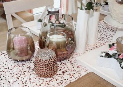 Dekoartikel aus der Kupfer-Kollektion der Weihnachts-Ausstellung 2015 - Teelichtglas - Tischdeko - Tischläufer